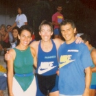 1989 - Profª Chris, David Copeland (IDEA) e Mauro Guiselini, fundador da academia Runner/SP